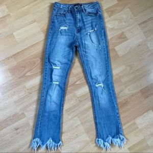 Black Label Distressed Shark Hem Jeans